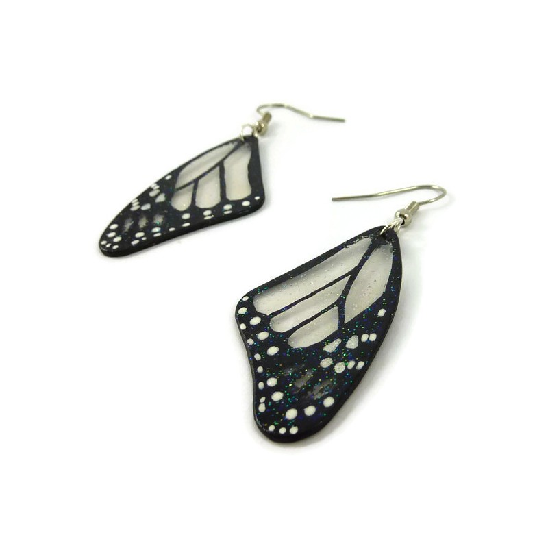 8a8749070 ... Transparent and black Monarch butterfly wings dangle earrings with  glitters ...